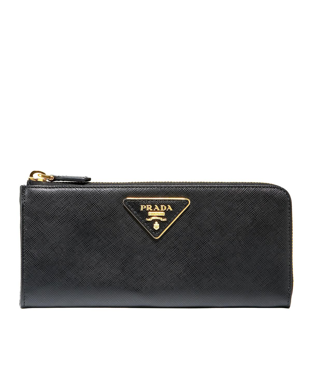 Prada Saffiano Leather Continental Wallet in Black (nero (black ...