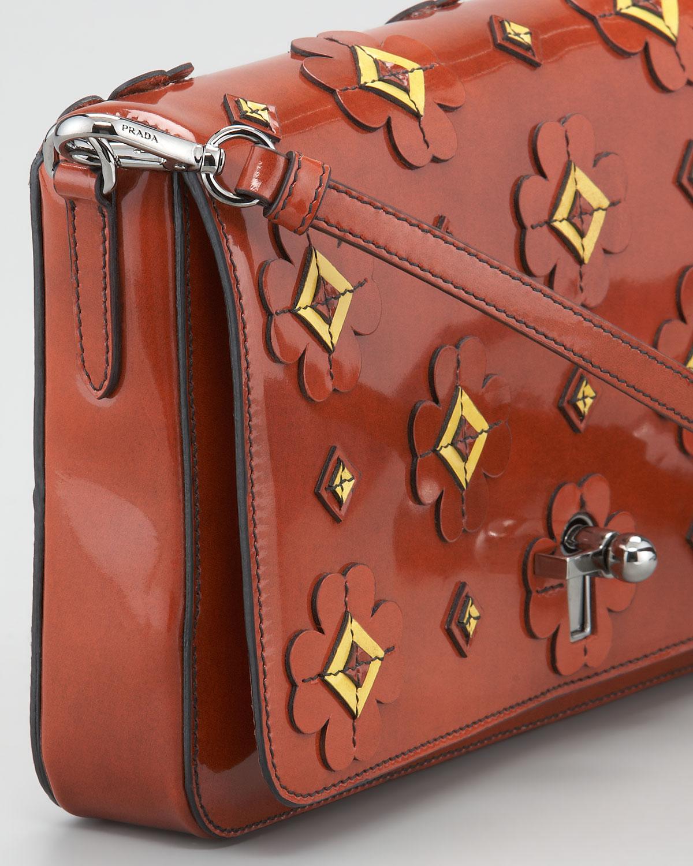 Prada Floralapplique Spazzolato Shoulder Bag in Orange (orange ...