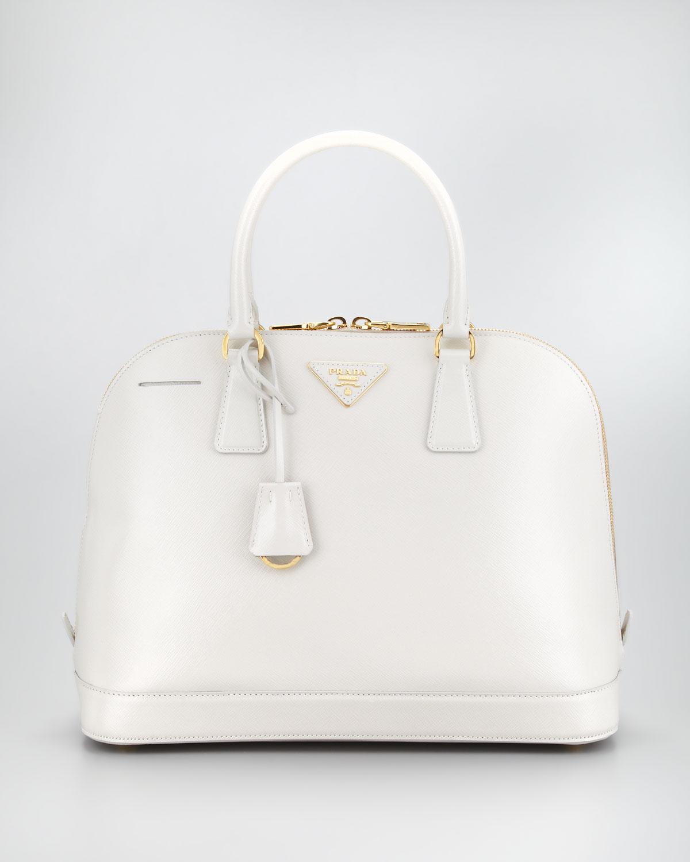 3a8192f24a88 Prada Saffiano Vernice Round Dome Bag Talco in White - Lyst
