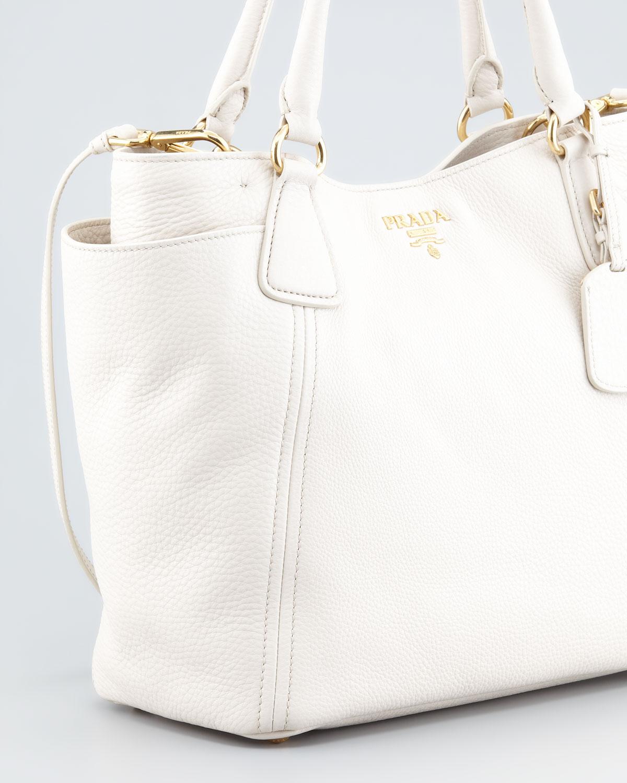 33e047cca0c5 ... wholesale lyst prada daino doublepocket tote bag talco in white a45d4  fad83