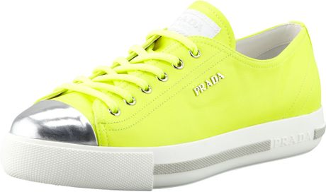 Prada Metallic Captoe Neon Platform Sneaker in Yellow #1: prada yellow metallic captoe neon platform sneake product 1 large flex