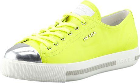 Prada Metallic Captoe Neon Platform Sneaker in Yellow #1: prada yellow metallic captoe neon platform sneake product 1 large flex