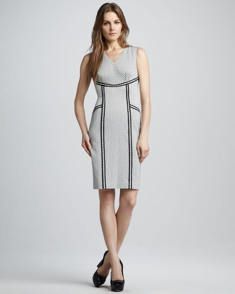 Rachel Zoe Elsa Outlined Polkadot Dress in Gray (ivory) - Lyst