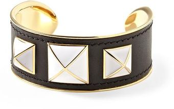 Rebecca Minkoff Small Enamel Stud Leather Cuff - Lyst