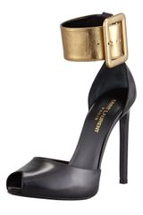 Saint Laurent Metallic Twotone Leather Pump Black gold - Lyst