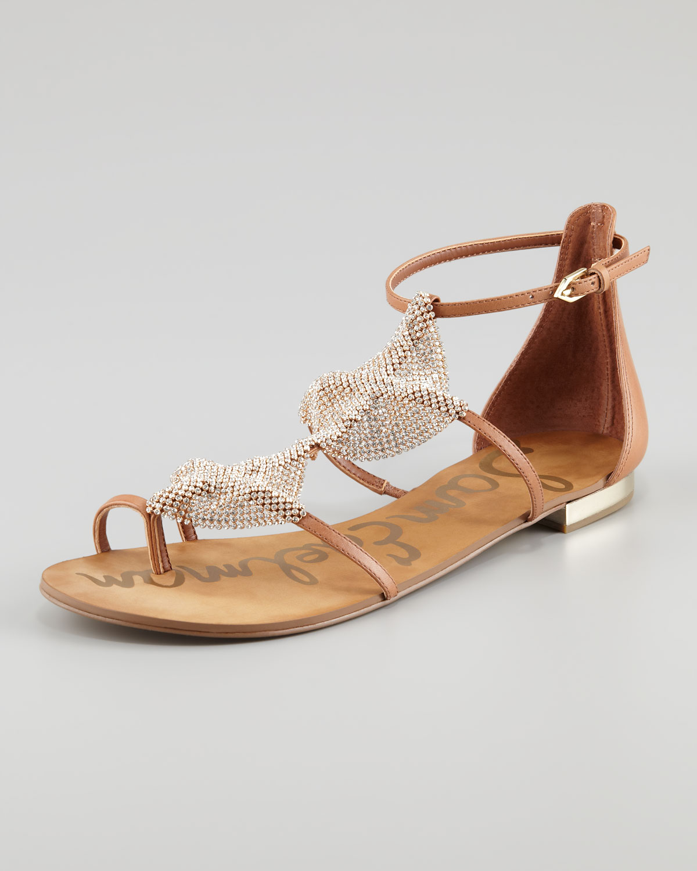 c0a1e1dc337991 Sam Edelman Diamond Leather Flat Sandal in Brown - Lyst