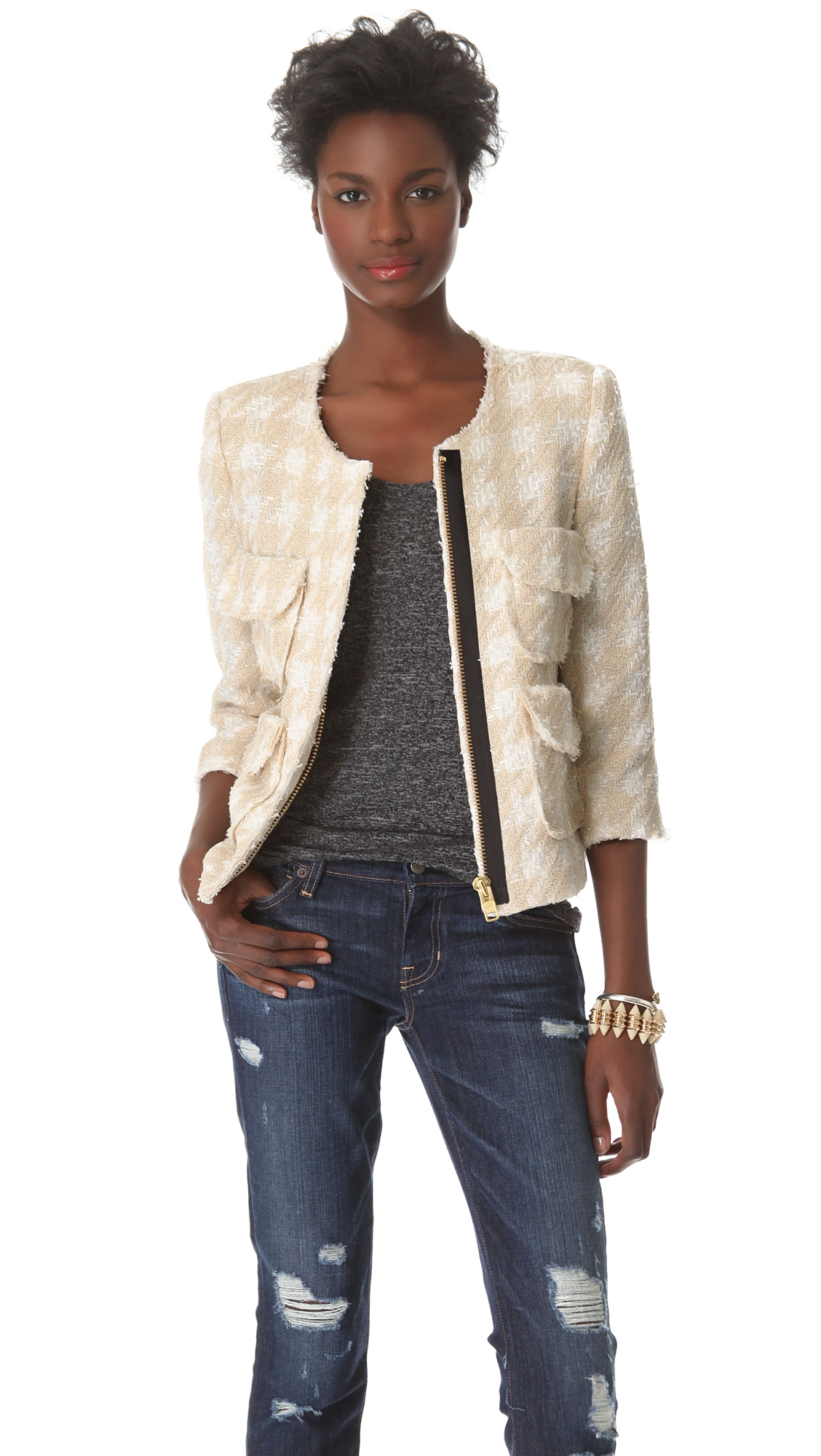 Smythe boucle jacket in beige lyst for Smythe designer