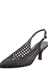 Stuart Weitzman Meeting Woven Leather Kitten Heel Slingbacks - Lyst
