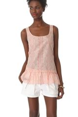 Thakoon Addition Lace Print Ruffle Tank - Lyst