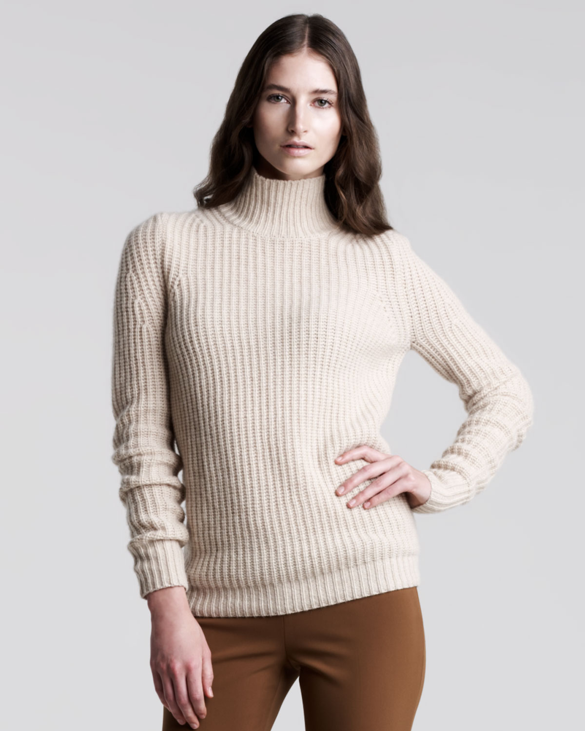 Theory Sharni Cashmere Sweater in Natural | Lyst