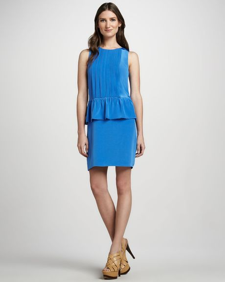 Tibi Sleeveless Peplum Dress in Blue (persian blue) - Lyst