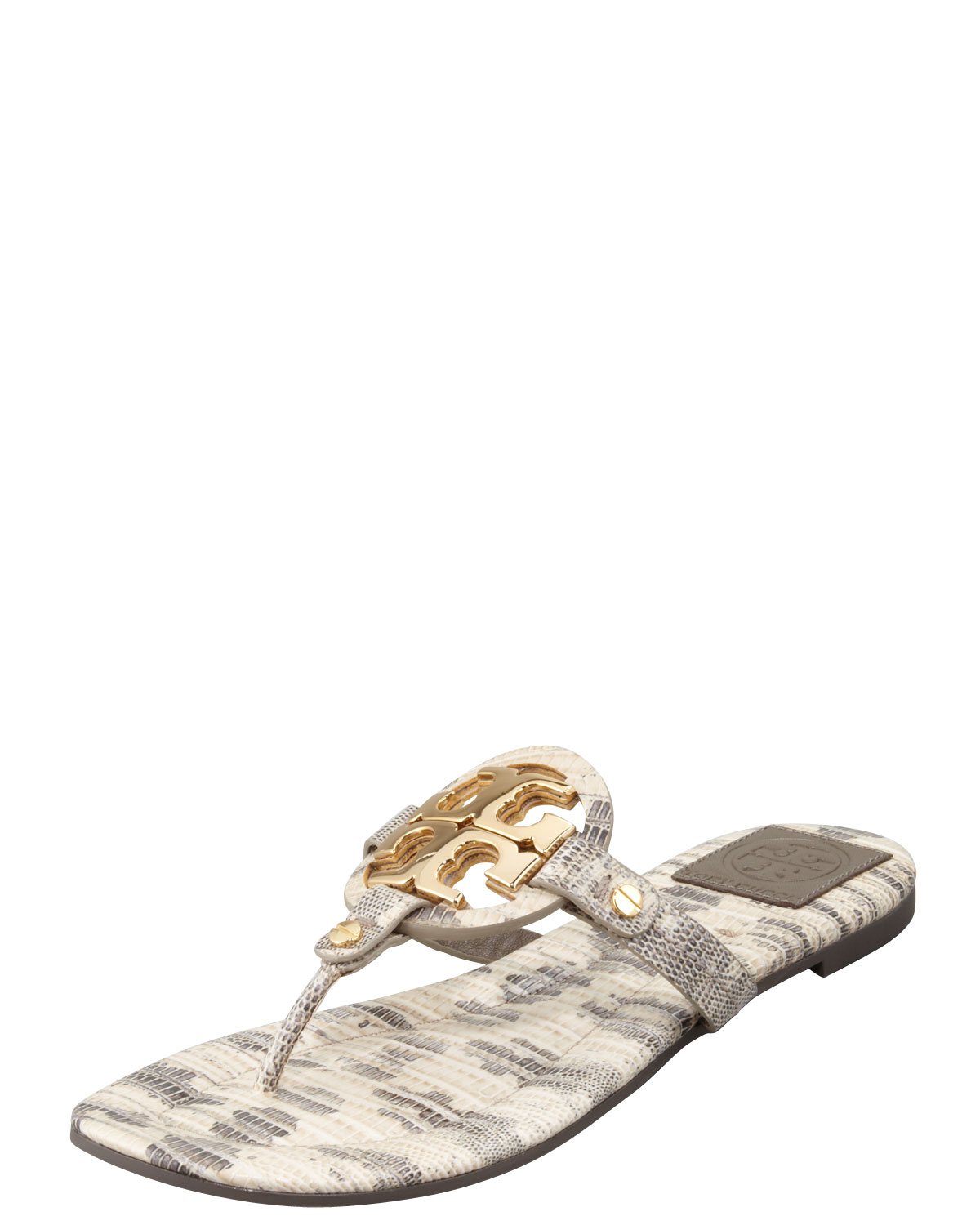 f299be6a4f4f5d Lyst - Tory Burch Miller2 Snakeprint Thong Sandal Natural in Metallic