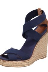 Tory Burch Adonis Stretch Espadrille Wedge Nav - Lyst
