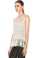 Valentino Four Leaf Clover Lace Top  in Beige (ivory) - Lyst