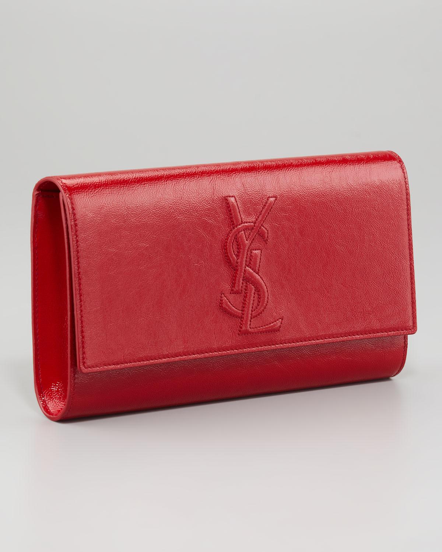 6c3cd1088f14 Lyst - Saint Laurent Belle Du Jour Clutch Bag in Red