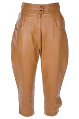 Yves Saint Laurent Vintage Cropped Leather Trouser - Lyst