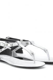 Balenciaga Studded Metallic Leather Thong Sandals - Lyst