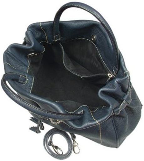 Buti Navy Blue Pebble Italian Leather Satchel Handbag in Blue (navy)