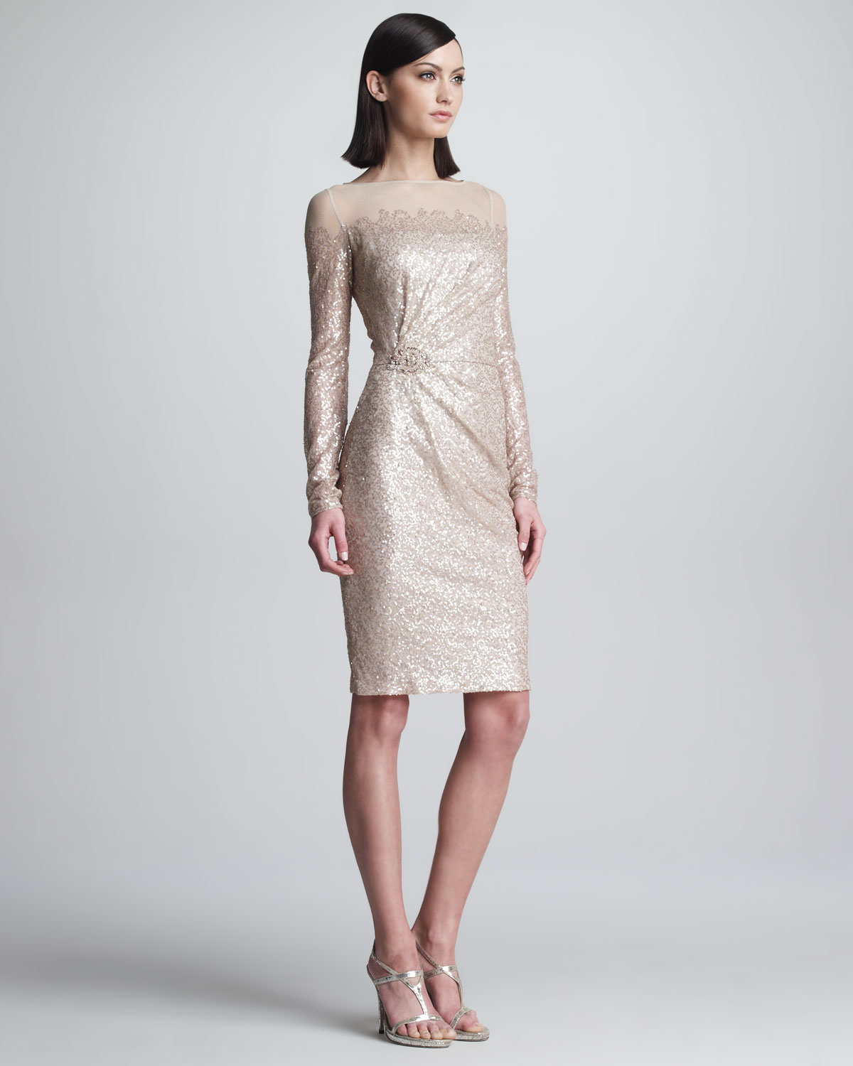 Lyst - David Meister Sequined Longsleeve Cocktail Dress in ...