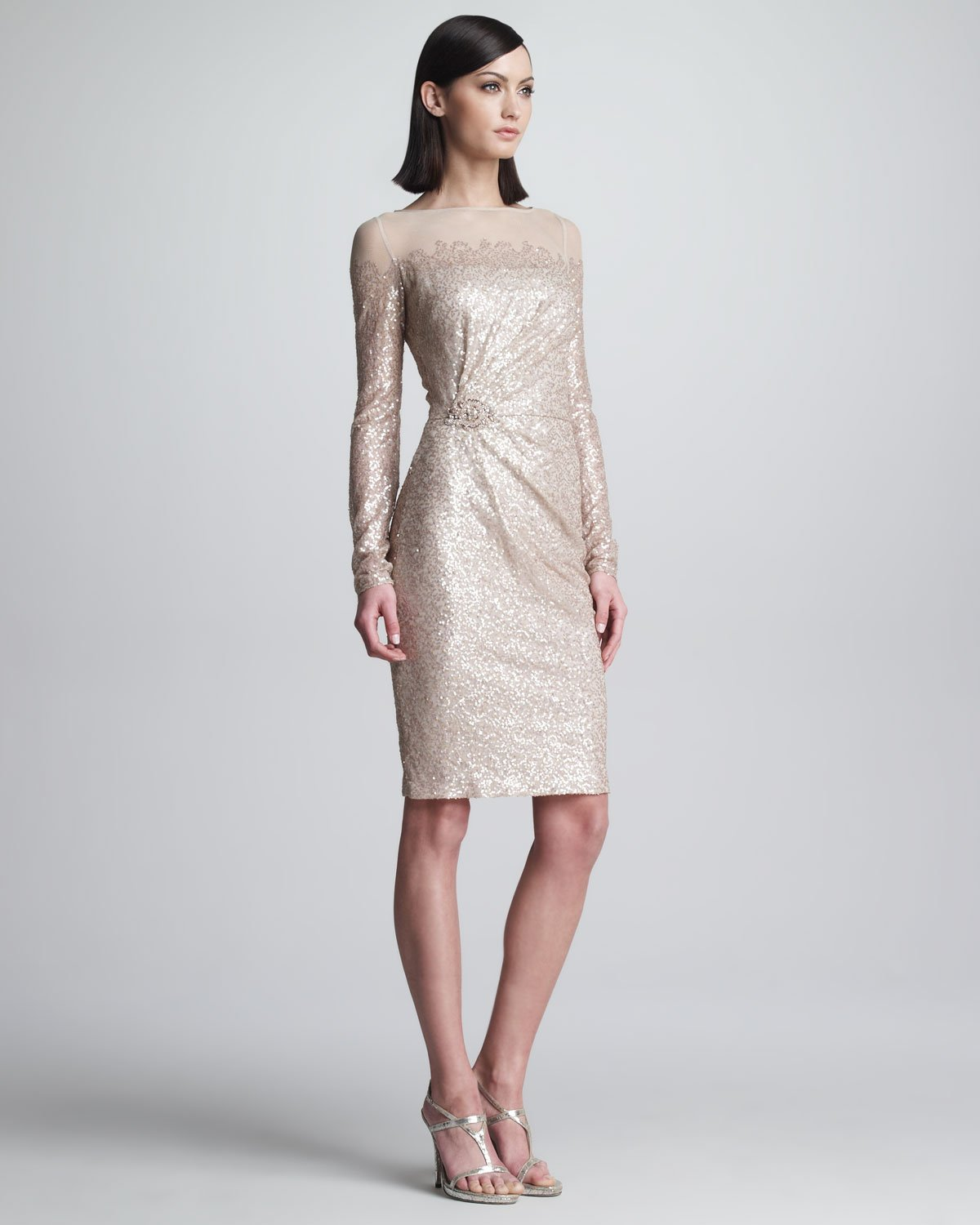 Lyst - David Meister Sequined Longsleeve Cocktail Dress in Natural