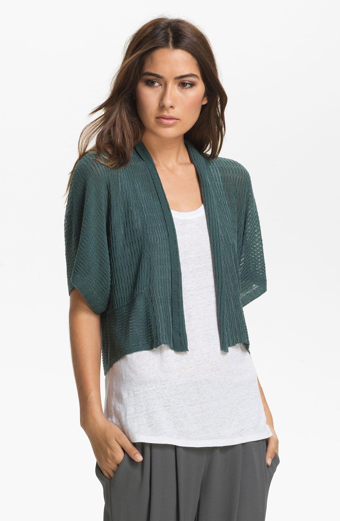 Eileen fisher Cropped Kimono Cardigan Petite in Green | Lyst