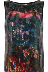Erdem Fabian Printed Sequined Top - Lyst