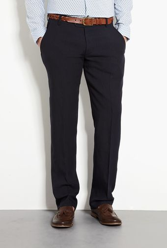 Farhi By Nicole Farhi Navy Linen Straight Trousers - Lyst