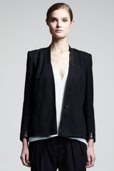 Helmut Lang Cove Leather trim Suit Jacket - Lyst