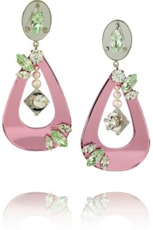 Miu Miu Swarovski Crystal and Plexiglass Clip Earrings - Lyst