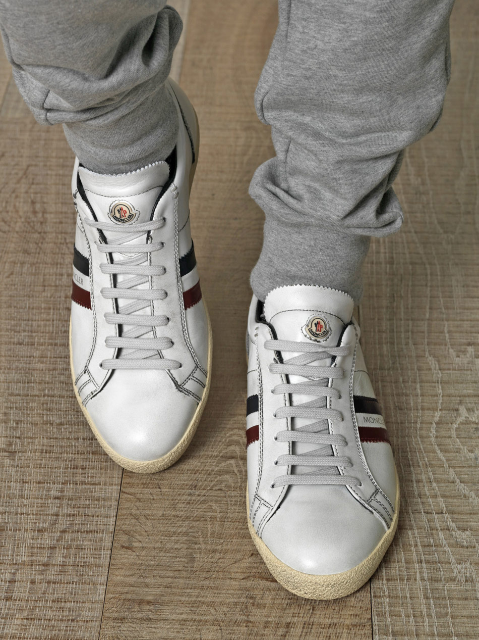 La Monaco Striped Leather Sneakers Moncler 3nApmAnHMv