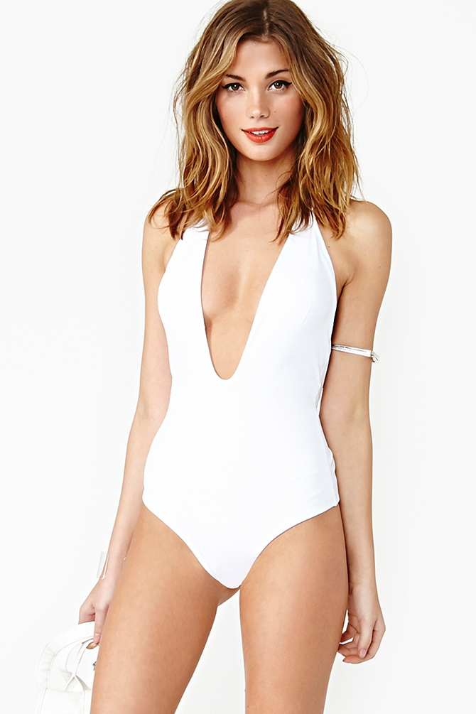b61e7171b66ae Lyst - Nasty Gal Flamingo Swimsuit White in White
