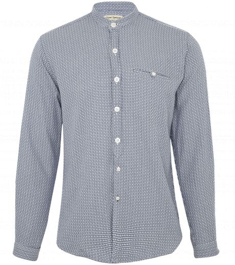Oliver spencer collarless allover print shirt in white for for Collarless shirts for men