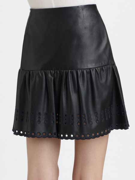 valentino leather skirt in blue navy lyst