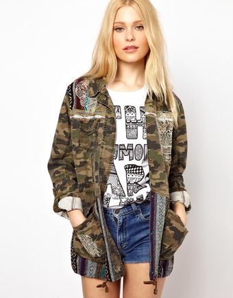 River Island Skull Embroidered Camo Jacket - Lyst