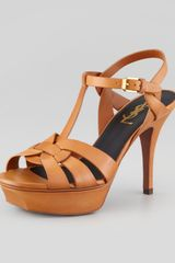 Saint Laurent Tribute Leather Sandal Brown 4 Heel - Lyst