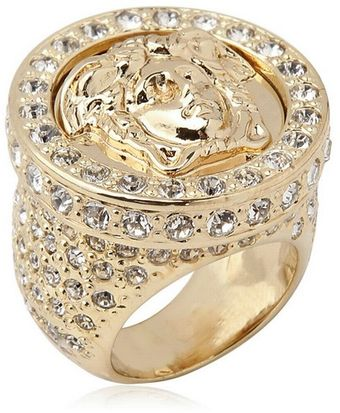 Versace Medusa Crystals Gold Plated Metal Ring - Lyst