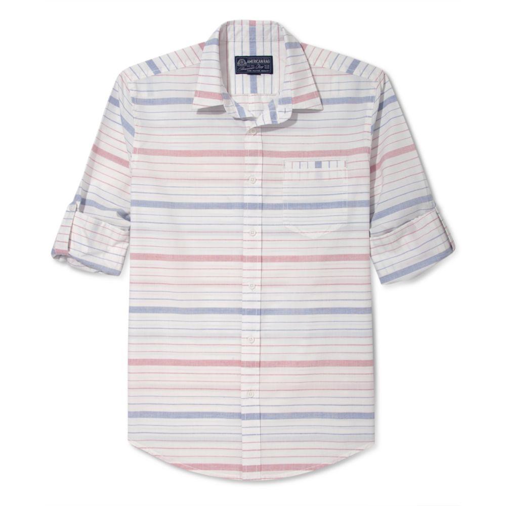 American rag horizontal stripe long sleeve shirt in for Horizontal striped dress shirts men
