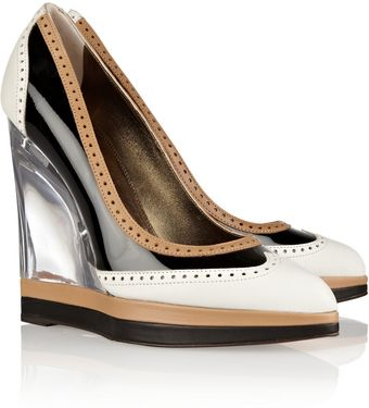 Lanvin Leather and Patent Brogue Style Wedges - Lyst