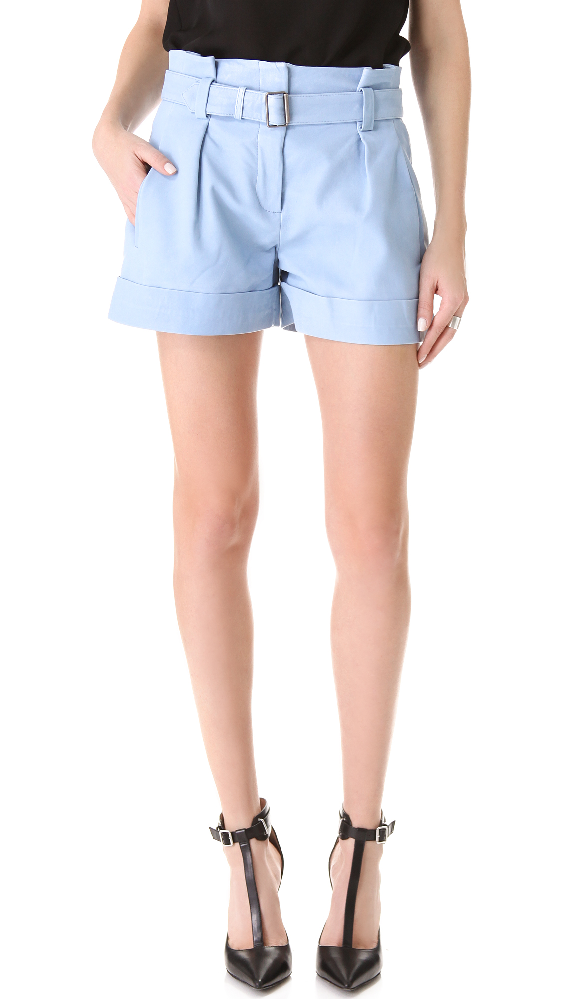 Theory Ettie Leather Shorts in Blue | Lyst