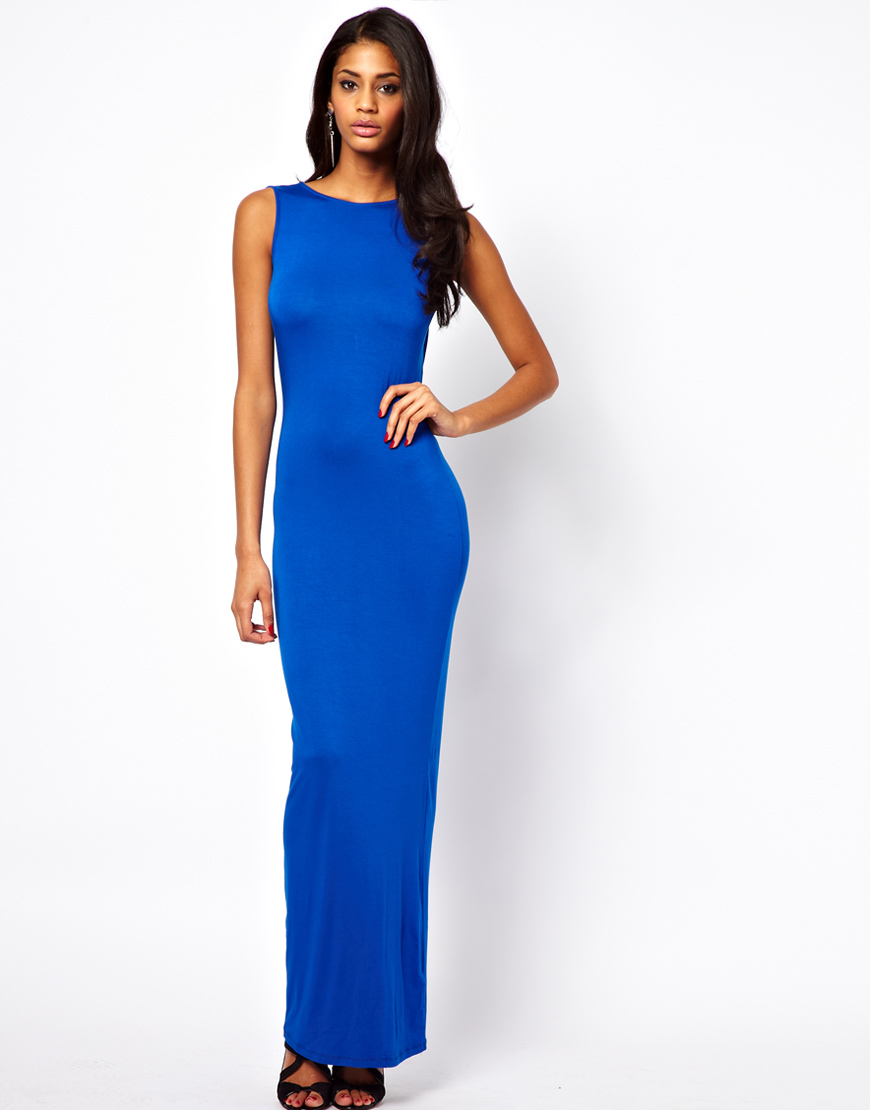 lyst asos asos maxi dress with cowl back in blue. Black Bedroom Furniture Sets. Home Design Ideas