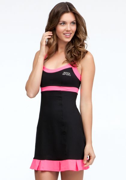 Bebe Colorblock Tennis Dress Bebe Sport in Black (black ...