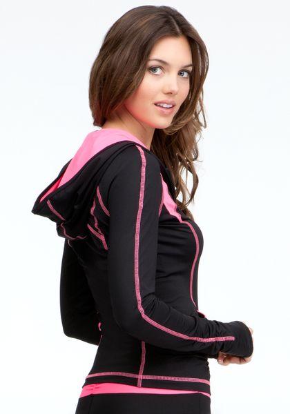 Bebe Ruched Colorblock Hoodie Bebe Sport in Black (black pink splash