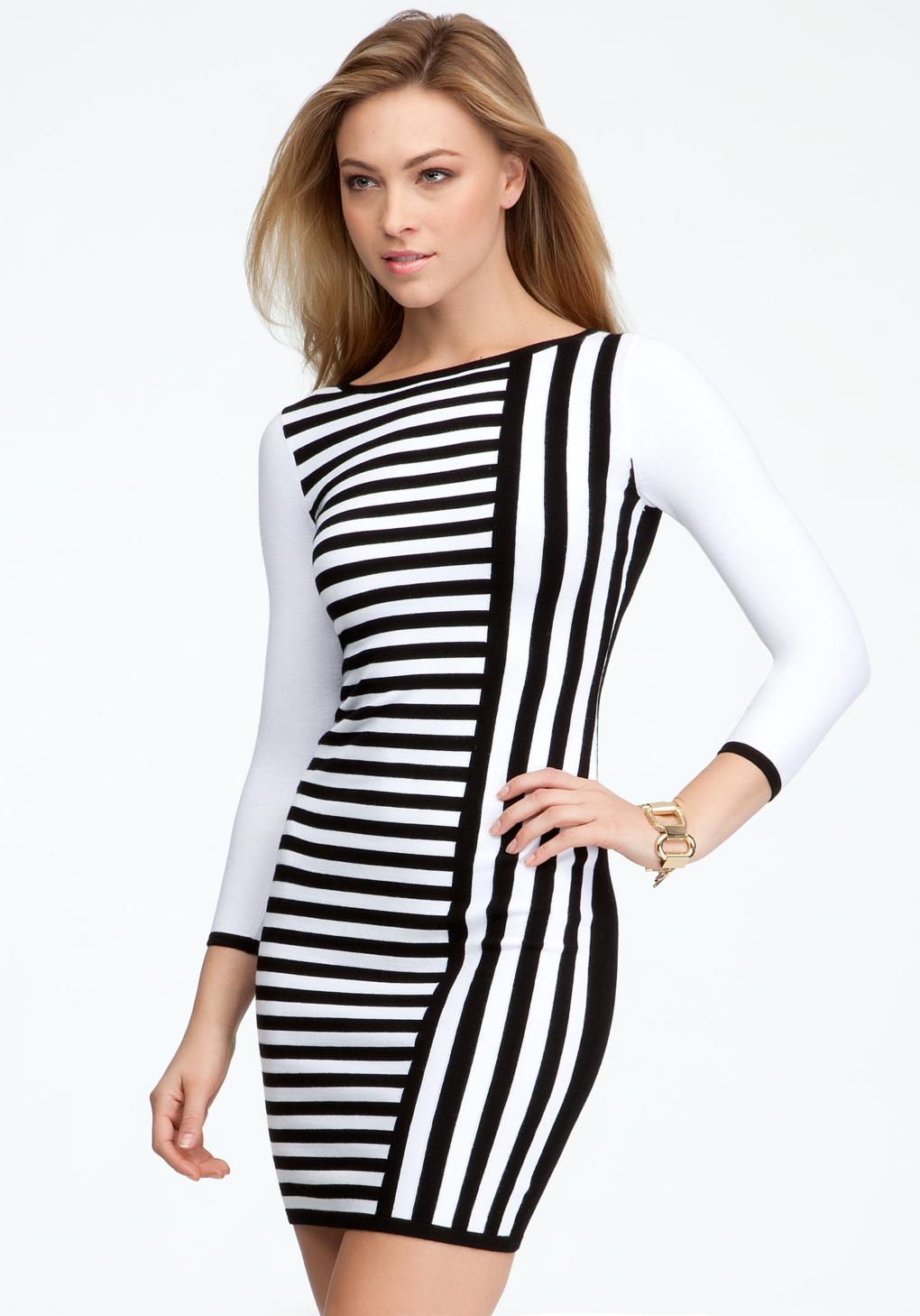 d2f307687f3 Lyst - Bebe Contrast Stripe Sweater Dress in White