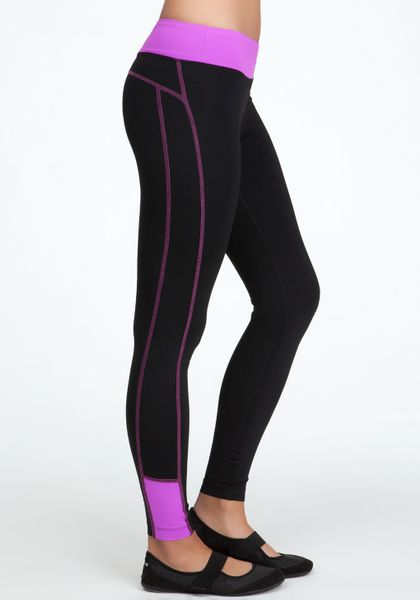 bebe colorblock legging bebe sport in black blk bright orchid lyst. Black Bedroom Furniture Sets. Home Design Ideas