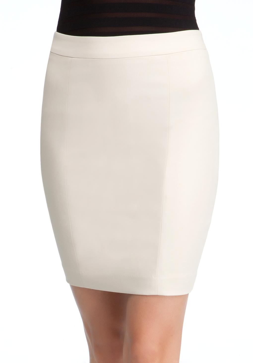 bebe mini pencil skirt in white cement lyst