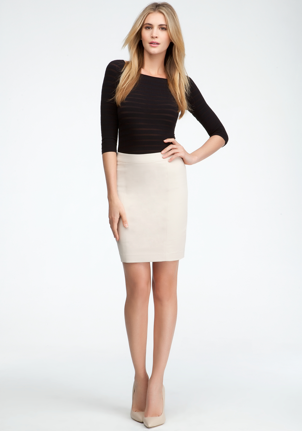 Bebe Mini Pencil Skirt in White | Lyst