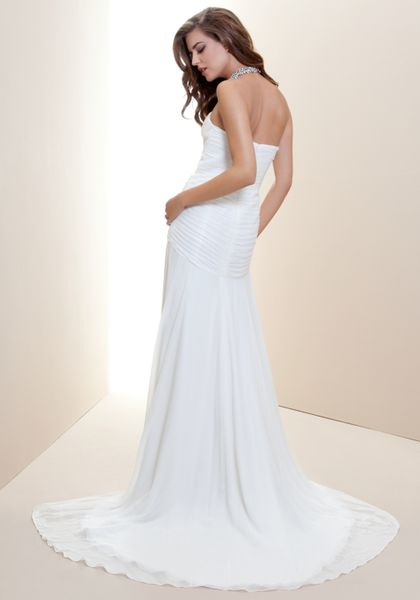 Bebe strapless fitted drape bridal gown in white snow for Fitted strapless wedding dress