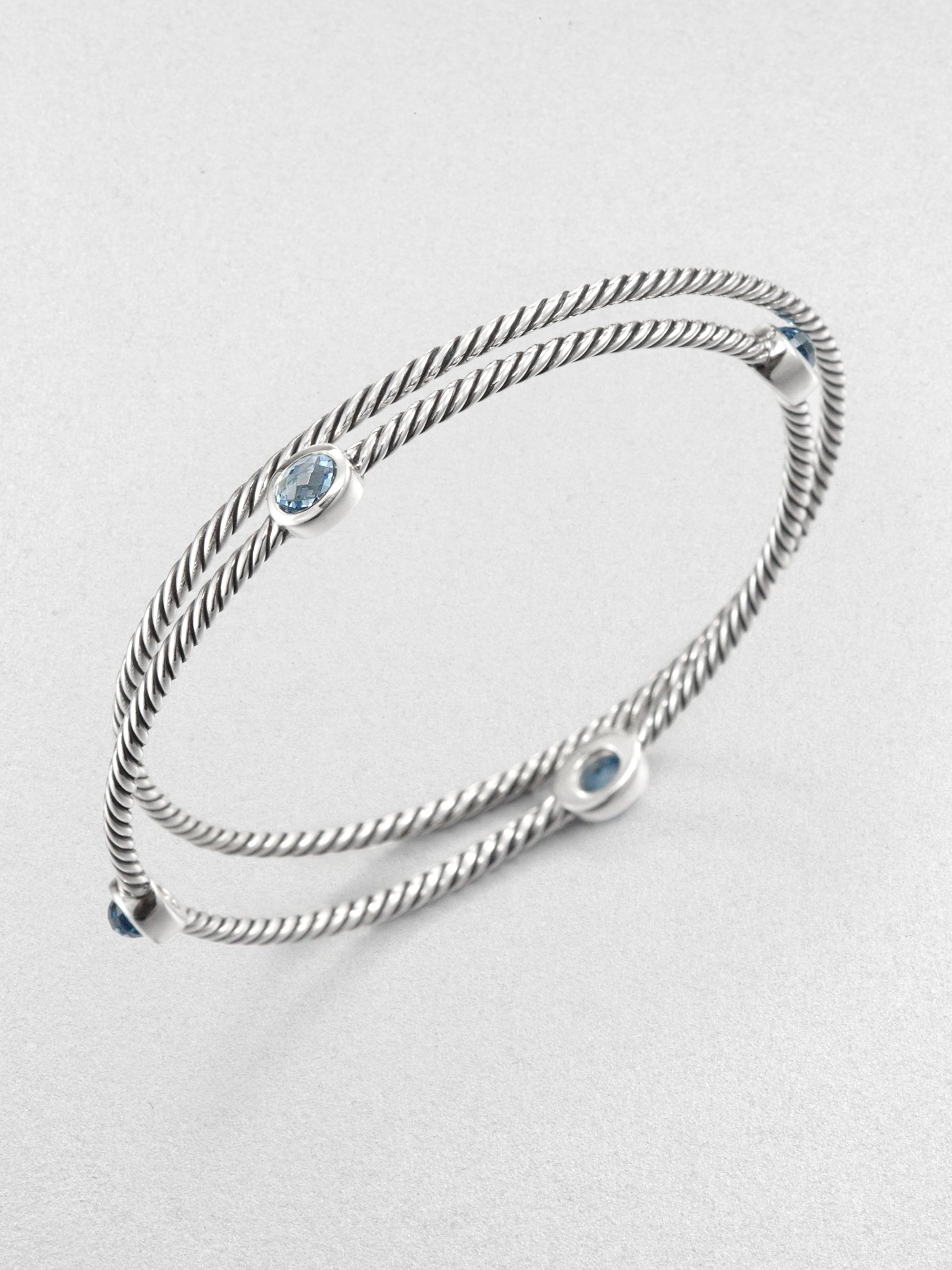 David Yurman Blue Topaz Sterling Silver Bangle Bracelet