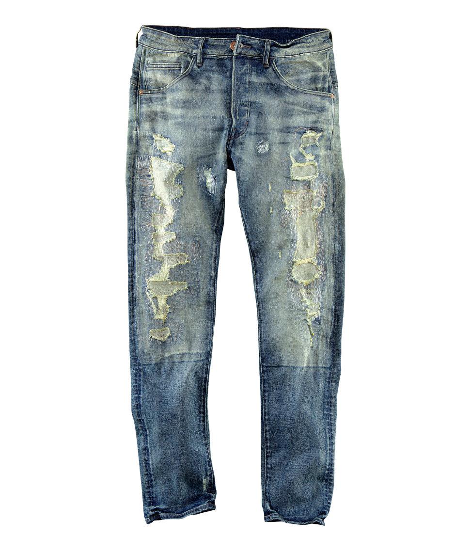 h m tapered low jeans in blue for men denim lyst. Black Bedroom Furniture Sets. Home Design Ideas