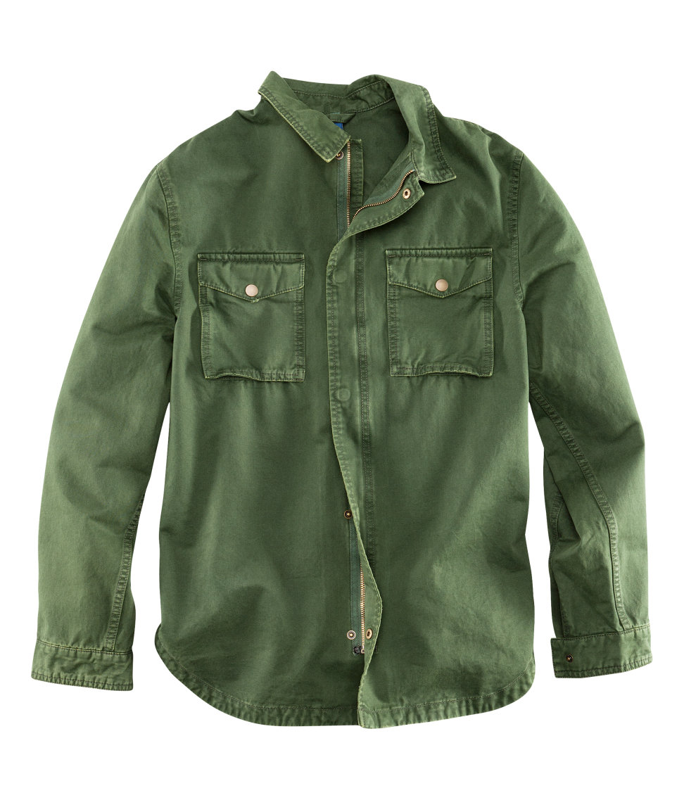 H Amp M Shirt Jacket In Green For Men Lyst